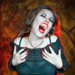 Screaming halloween vampire — Stock Photo
