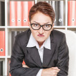 Suspicious  woman boss — Stockfoto