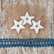 Star shapes, burlap textile and chaplet — Stock Photo