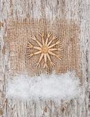 Christmas decoration with straw snowflake — Stock Photo