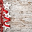 Christmas decoration with red ribbon and silver stars — Foto Stock