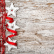 Christmas decoration with red ribbon and silver stars — Stok fotoğraf