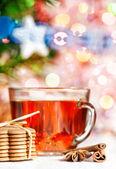 圣诞饼干、 香料和 te — 图库照片