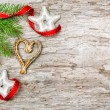 Christmas background with fir branch and ribbon — Foto Stock