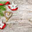 Stock Photo: Christmas background with fir branch and ribbon
