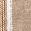 Stock Photo: Burlap background with linen cloth and rope