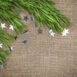 Christmas decoration with fir branch on burlap — Stock Photo