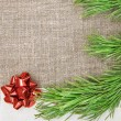 Christmas card with canvas, fir branch and bow on burlap  — Stock Photo