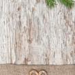 Christmas decoration with straw heart and burlap — Stock Photo