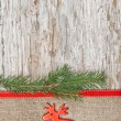 Stock Photo: Christmas decoration with red deer and burlap