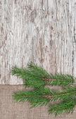 Kerstdecoratie met fir tak en jute op oud hout — Stockfoto