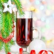 Stock Photo: Christmas mulled wine and fir branch