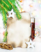 Christmas card with mulled wine — Stock Photo