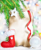 Christmas card with holiday decor — Stock Photo