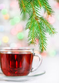 Christmas tea and fir branch — Stock Photo