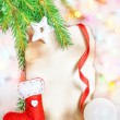 Christmas card with holiday decor — Stock Photo #37378199