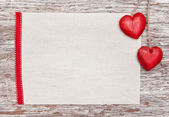 Valentine card with hearts on canvas — Stock Photo