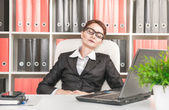 Business woman sleeping in the office — Stock Photo