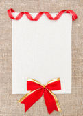 Valentine card with ribbon and bow — Stock Photo