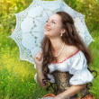 Laughing woman in vintage dress — Stock Photo #38470665
