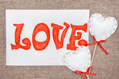 Valentine card with drawing word love — Stock Photo