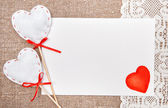 Valentine card with drawing red heart on lace — Stock Photo