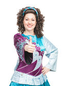 Irish dancer showing thumbs up sign — Stock Photo