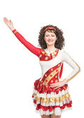 Irish dancer raise hand up isolated — Stock Photo