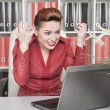 Stock Photo: Angry screaming business woman