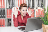 Angry screaming business woman — Stock Photo
