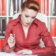 Foto Stock: Business womwriting