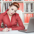 Business woman writing — Stock Photo