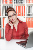 Serious business woman workin — Stock Photo