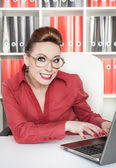 Smiling success business woman — Foto Stock