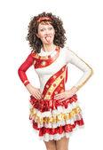 爱尔兰舞蹈服饰展示舌的女人 — 图库照片