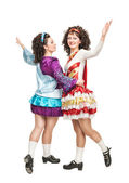 Irish dancers in hard shoes dancing — Stock Photo