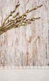 Easter decoration with catkins and linen fabric on old wood — Stock Photo