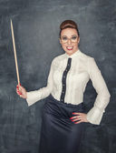 Crazy teacher with wooden pointer — Fotografia Stock