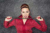 Woman with whip in her hands — Stock Photo