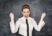 Beautiful business woman celebrating success — Stock Photo
