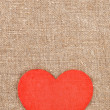 Felt red heart on the burlap — Stock Photo #44829333
