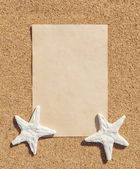 Sheet of paper and seashells on the sand — Stock Photo