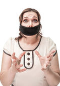 Plus size woman gagged and scared — Stock Photo
