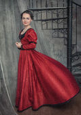 Beautiful woman in medieval dress — Foto de Stock