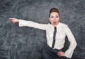 Angry screaming teacher pointing out — Stock Photo