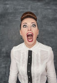 Angry screaming woman — Stock Photo