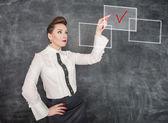 Business woman making choice — Stock Photo