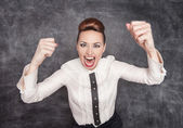 Angry screaming teacher — Stock Photo