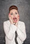 Scared teacher — Stock Photo