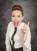 Angry screaming teacher threaten by finger — Stock Photo